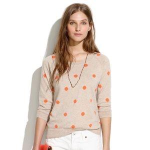 Madewell dot stitch sweater orange polka dot S